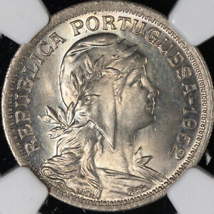 1952 PORTUGAL 50 CENTAVOS -- NGC MS67 -- SOLO TOP POP!  Nice light toning.