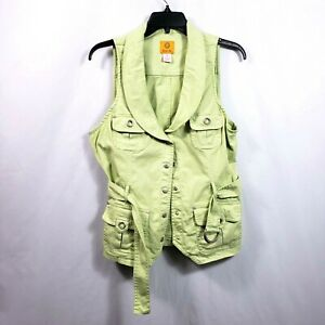 Ruby Rd Green Vest Size Small Womens Light Lime Belted Metallic Accents Top