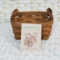 Longaberger Vintage 1985 Tea Basket Collectible Hand Woven Dual Leather Handles