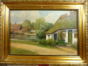 C. MOLLER! IDYLLIC VILLAGE SCENE WITH POND AND CHURCH. NO RESERVE