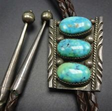 Vintage NAVAJO Sterling Silver & TURQUOISE BOLO Tie, Leather Cord Sterling Tips