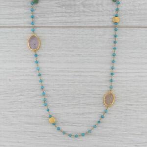 New Nina Nguyen Turquoise Quartz Bead Sea Foam Necklace Sterling Gold Vermeil