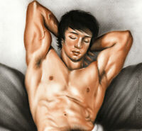 Print Of Male Oil Painting - Taking A Rest Pin Up Art Man Drawing Artist Andreev