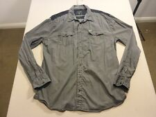 037 MENS NWOT GUESS REG FIT DK GREY / BLACK STRIPED L/S SHIRT SZE XL $120 RRP.