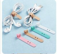 4pcs Silicone Strips Earphones Storage Tape Cord Lead USB Charger Holder