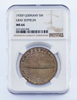 1930-F Germany 5 Mark Graf Zeppelin Silver Coin Graded by NGC as MS-64 KM #71