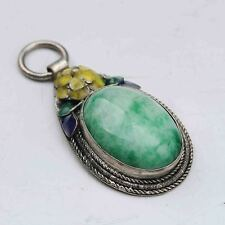 Exquisite Cloisonne Inlaid Green Jade Handwork Pendant G921