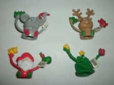 Set of 4 Russ Berrie® Jolly Jigglers Christmas Finger Puppets STOCKING STUFFERS!