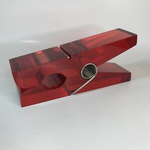 Giant RED Lucite POP ART Clothespin Desk Ornament / Paper Clip Paperweight - G4