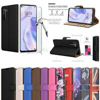 For Huawei P40 Lite 5G Case Leather Wallet Stand Flip Phone Cover + Screen Glass