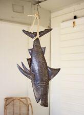 """Hanging Shark Recycled Metal With Rope Coastal Fishing Beach Ocean Huge 45"""""""