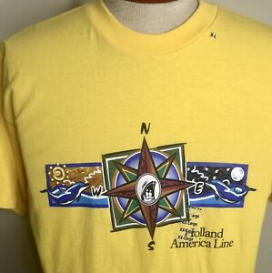 ~ NEW w/TAG XL Vintage Holland America Cruise Lines Yellow Logo T-Shirt ~