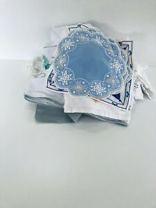 Bundle Of Vintage embroidered table cloths And Textiles -