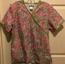 SB Scrubs Pink Floral Paisley Scrubs Top - Size Small
