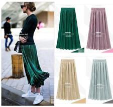 Womens Metallic Look Long Maxi Pleated Skirt