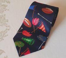 """A. Rogers Men's Polyester Tie FOOTBALLS & CHEER on Dark Blue 4¼"""" x 60"""" USED"""