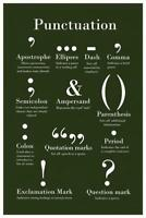 Punctuation Grammar and Writing Green Classroom Mural Poster 36x54 inch