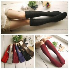 6 Pairs Lot 6 Color Women Girl Soft Warm Thick Wool Knee High Crew Socks