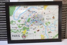 Vintage Map Paris France Framed Carte Economique Colorful  Large Print Shopping