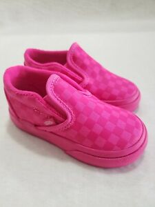 Vans Classic Slip On Mono/Check Toddler Sneaker Shoes Size 6 Pink