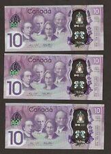 3 x 2017 Canada $10 DOLLARO emissione commemorativa con CDA/capitale della CDB/CDC prefisso UNC