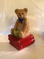 Lovable Teddy Bear Cast Iron Doorstop Holding Green Apple Sitting On 2 Red Books