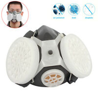 Face Respirator Gas Mask Double Filter Air Breathing Chemical Gas Protector Use