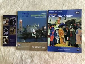 2002 KENTUCKY DERBY, BELMONT AND SANTA DERBY PROGRAMS AUTOGRAPHED 38 TOTAL