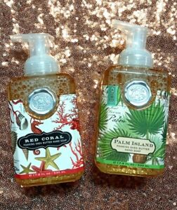 2 Set Michel Design Works Foaming Red Coral & Palm Island Shea Butter Hand Soap
