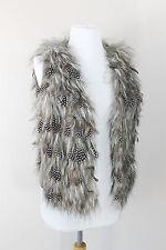 Blanc Noir Gray Guinea Hen Feather Faux Fur Vest Womens Small S 2 4 $200 PERFECT