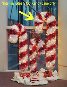 Bethlehem Lighting 5' Tinsel Candy Cane Christmas Outdoor Decor Clear Red Lights