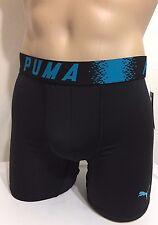 """Puma Sport 6"""" Inseam  Boxer Brief Medium 32-34 Black w/ Blue Trim  (0310)"""