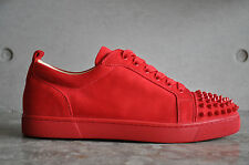 Christian Louboutin Louis Junior Spikes Flat Suede Red/Oeillet 5.5 UK 39.5 EUR