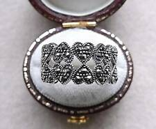 Chunky Genuine Silver & Marcasite Double Row Heart Ring - Size R/S