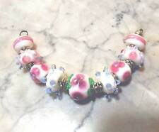 LGL- Handmade Lampwork Beads Pink FLOWERS- Nc1883 - Loose for Jewelry Crafts