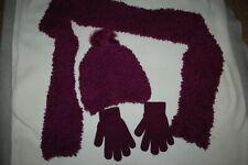 Girls Purple 3 Pc Set Soft Fuzzy Scarf Fleece Lined Hat w/ Pom Stretch Gloves