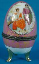 Vintage Limoges France Egg Trinklet 18 Century Courtship Scene