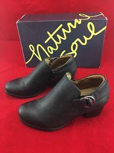 Natural Soul Womens Candie Ankle Bootie 6.5W (Wide) Black Block Heel Buckle