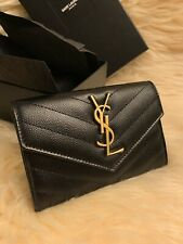 [NEW] YSL Saint Laurent monogram quilted grain leather envelope wallet-SML-BLACK