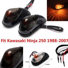 2x Carbon Flush Mount Aero Turn Signals For Kawasaki Ninja EX 250 250R 1988-2007