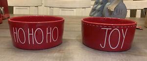 "Rae Dunn - HOHOHO & JOY - 6"" RED Dog Bowl Set WHITE Letter - CHRISTMAS HOLIDAYS"