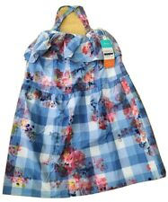 Joules BNWT New 9-10 years girl dress blue floral gingham checked summer ruffle