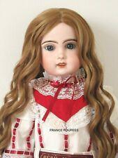 """perruque boucles blondes Jumeau®T34/36cm-poupée ancienne-doll wig head sz14"""""""