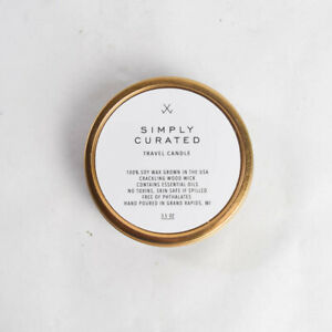 Simply Curated Soy Travel Candle Peony + Salt Crackling Wood Wick 3.5oz