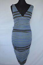 Ladies Versage Verus Blue Black & Yellow Geometric Patterned Tight Fit Dress 10