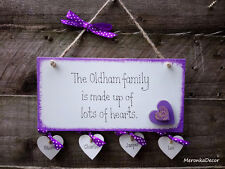 Family Plaque Personalised Wooden White hanging Hearts Gift-up to 6hearts-Purple