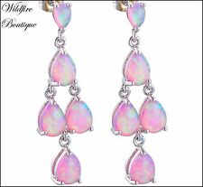 Unicorn Rainbow Pink & White FIRE OPAL Stud Chandelier Drop Earrings 925 Silver