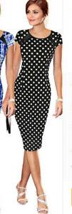 Black + White Hot Polka Dot Dress Size 6 8 10 12 14 16 Sexy Wiggle Dresses