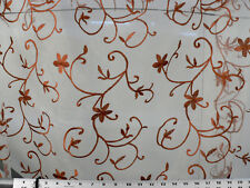 Drapery Upholstery Fabric Floral Scroll Embroidered Voile / Sheer - Copper