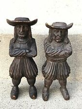 J Martin Rennes 19th Century Carved Fruit Wood Figural Men Spill / Vesta Holder